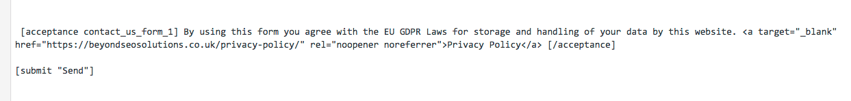 Contact Form GDPR Code
