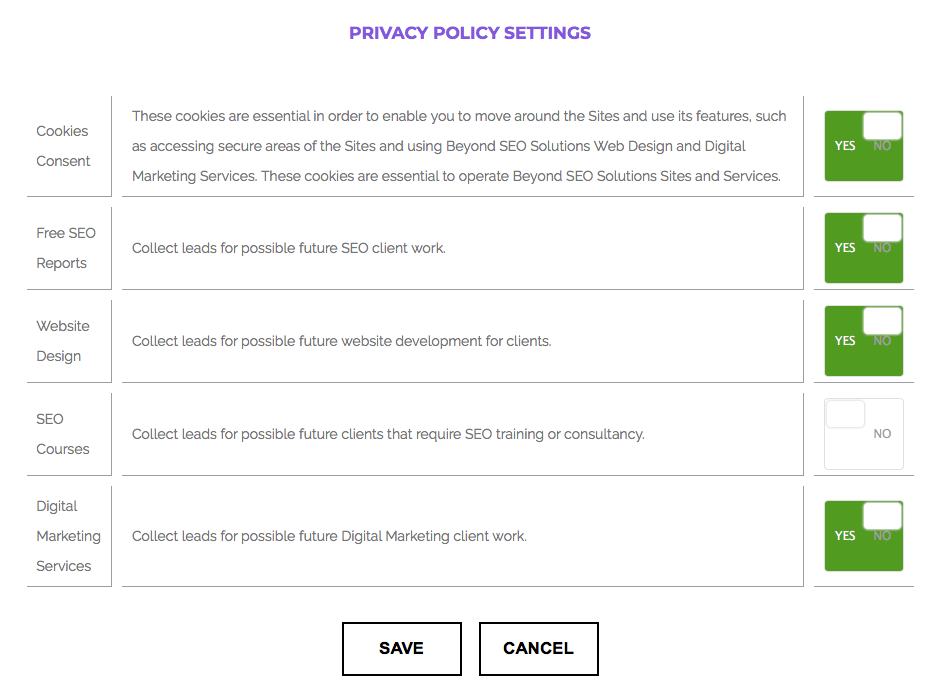 GDPR Tools Privacy Settings Examples